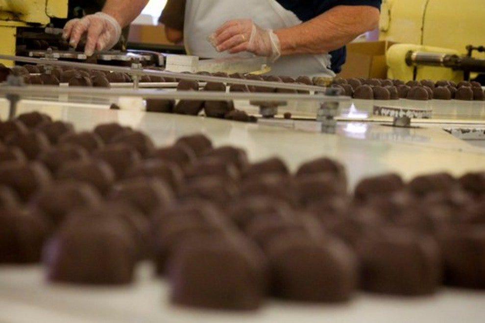 The chocolate assembly line at Cerreta Candy Company in Glendale, Arizona