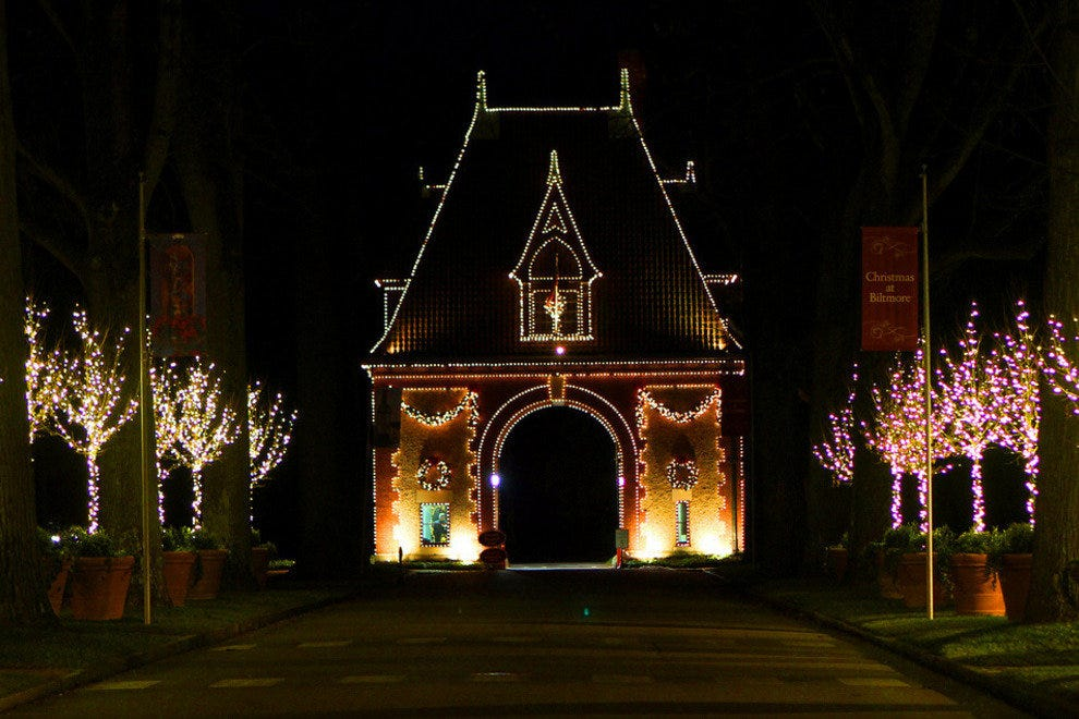 Biltmore Estate in Asheville lights up at Christmas time