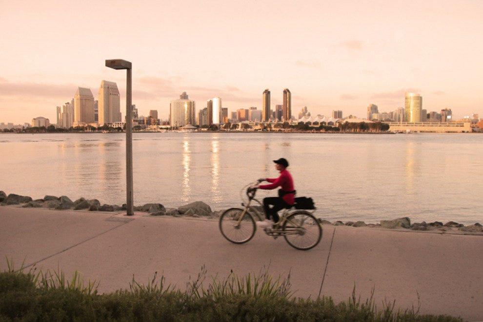 Bikers enjoy spectacular views of San Diego's skyline along bay side paths in Coronado.