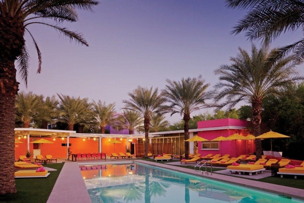 Lounge poolside at the colorful, sunny Saguaro Hotel in Old Town Scottsdale.