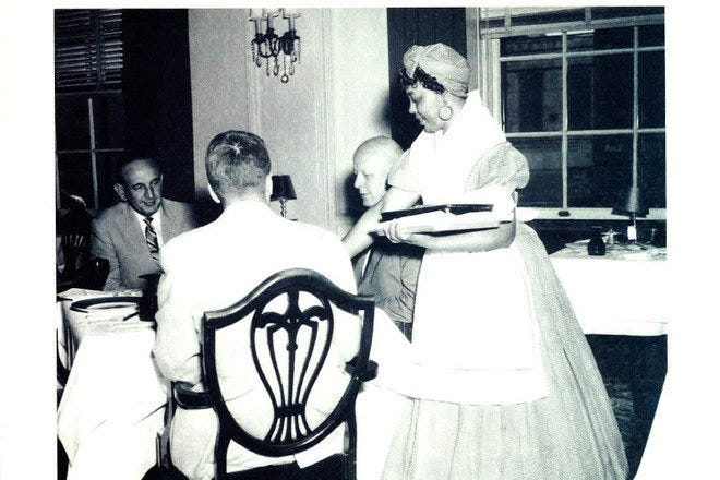 Irene Griffin, the Spoonbread Lady, at the Westin Poinsett Hotel in the 1940s