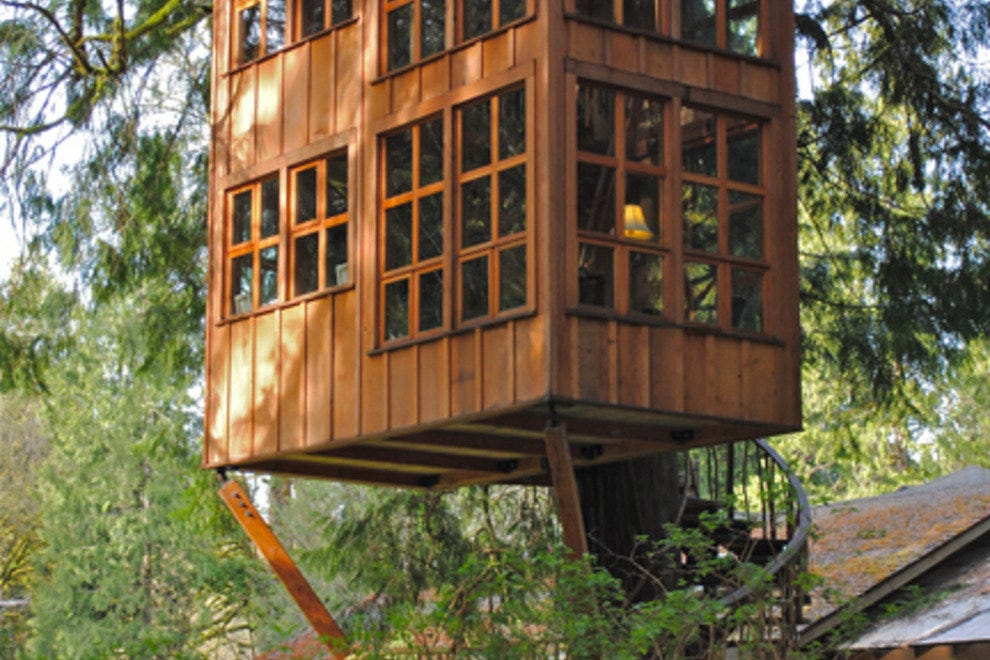 photo courtesy of treehouse pointwith whimsical names such as trillium temple of the moon and greek gazebo each hand crafted log and