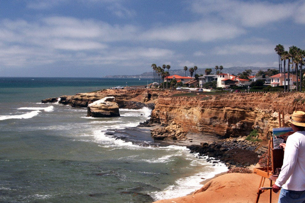 San Diego Beaches, Artist above Sunset Cliffs