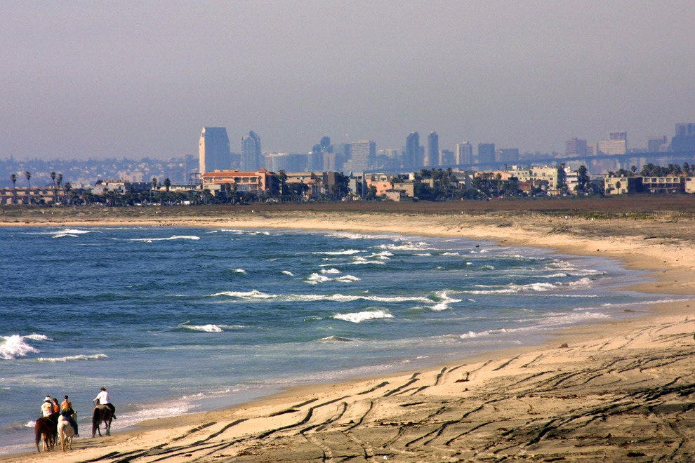 San Diego Beaches, View on San Diego Skyline from Imperial Beach