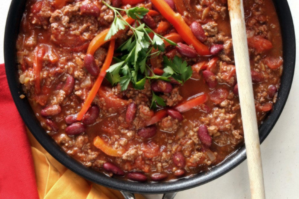 "Chili con carne, or ""peppers with meat"""