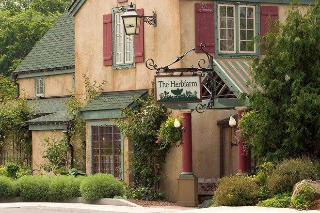 An exterior shot of the charming Herbfarm Restaurant.