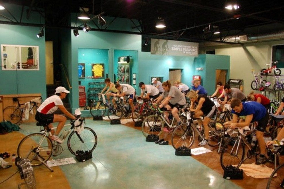 A spinning demonstration at Gorham Bike and Ski.