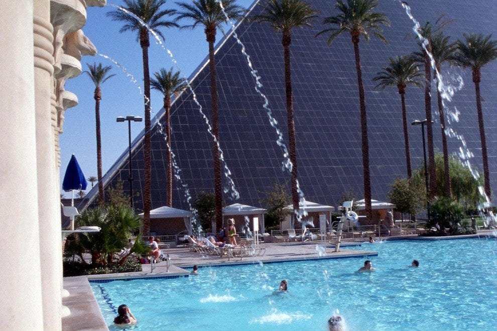 Step away from the casino and into the pools of the Luxor Hotel and Casino in Las Vegas, Nevada.
