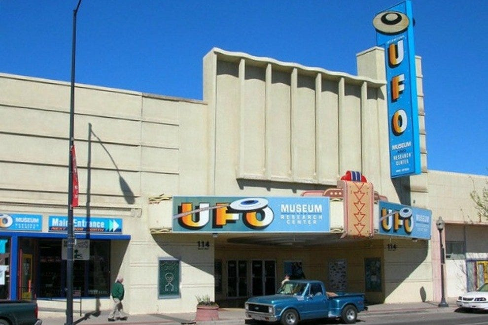 UFO Museum in Roswell, New Mexico with exhibits on aliens who crashed in New Mexico