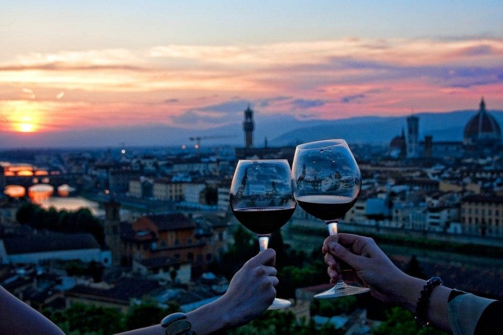 After sunset in Florence, the party begins