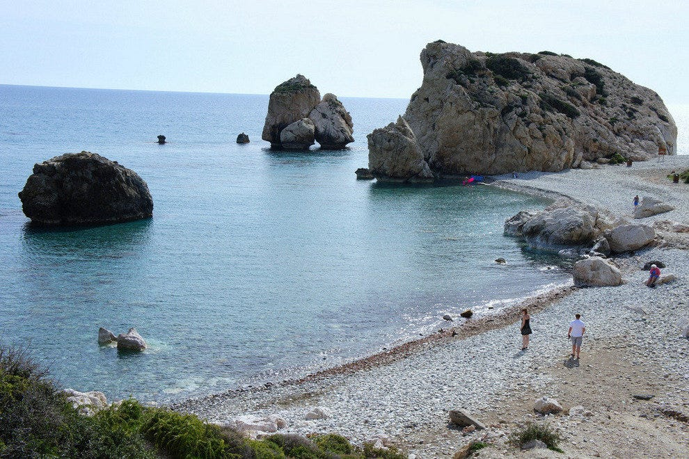 Aphrodite's Rock, on Cyprus.  Legend has it that if you swim in these waters, love will come to you.