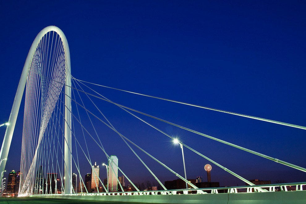 The Downtown Dallas Skyline Shines Brighter with the New Margaret Hunt Hill Bridge