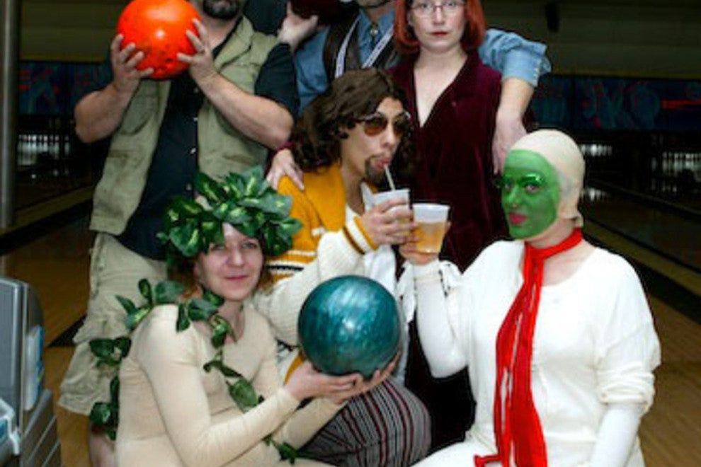 Fans dress up as characters from the movie <i>The Big Lebowski</i> at Lebowski Fest. (New York, NY)