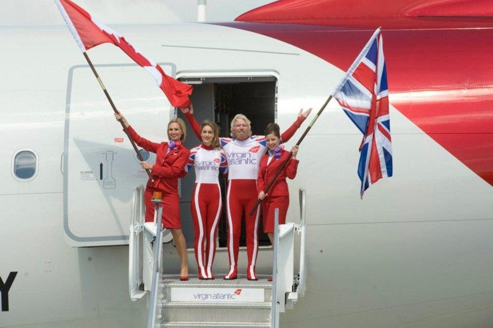Richard Branson and Amy Williams get patriotic