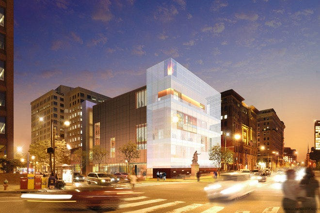 As of November 14, 2010, the new home of the National Museum of American Jewish History will be located on Independence Mall, in the heart of historic Philadelphia, Pennsylvania. This rendering previews the finished structure.