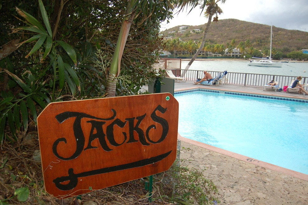 The resort pool, which is at the entrance to Jack's