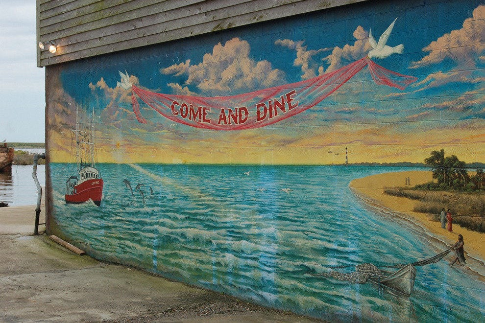 Mural found at Fisherman's Wharf restaurant in Wanchese