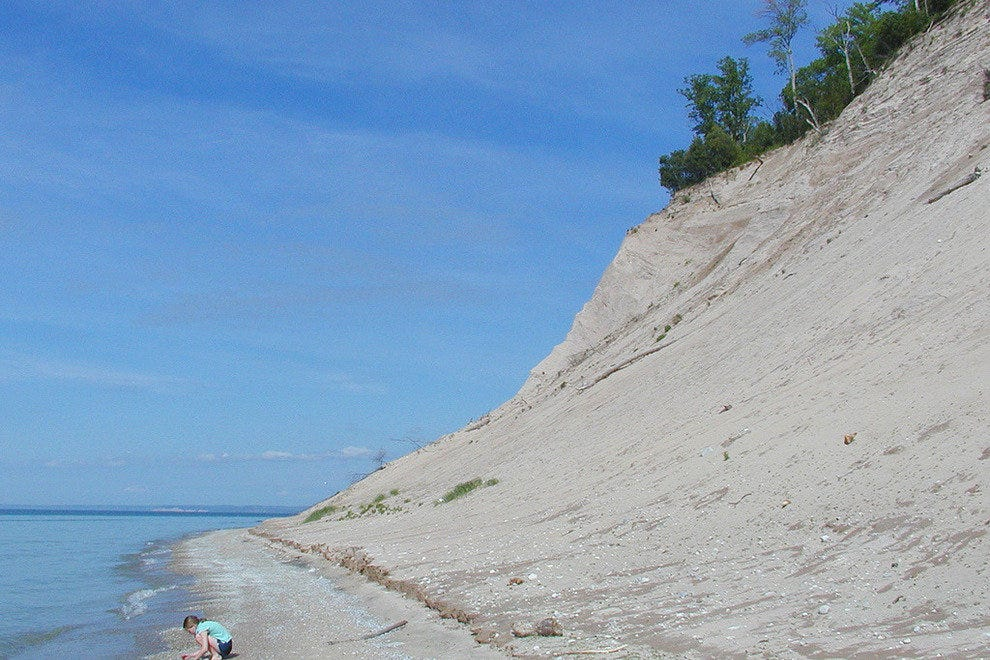 Steep dunes lead to the shore