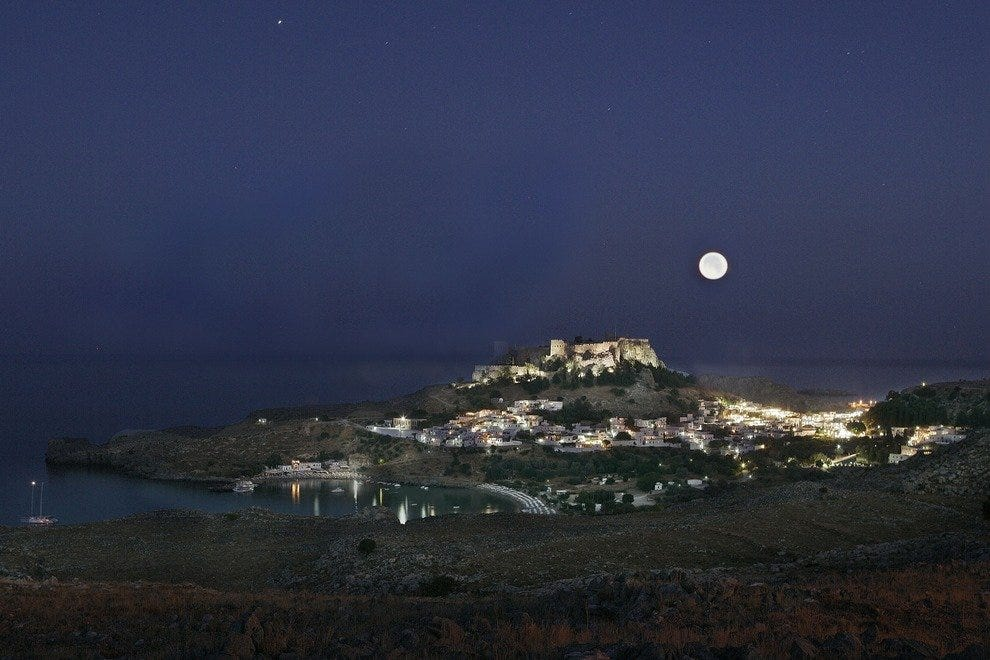 Moonlight at Lindos, Rhodes
