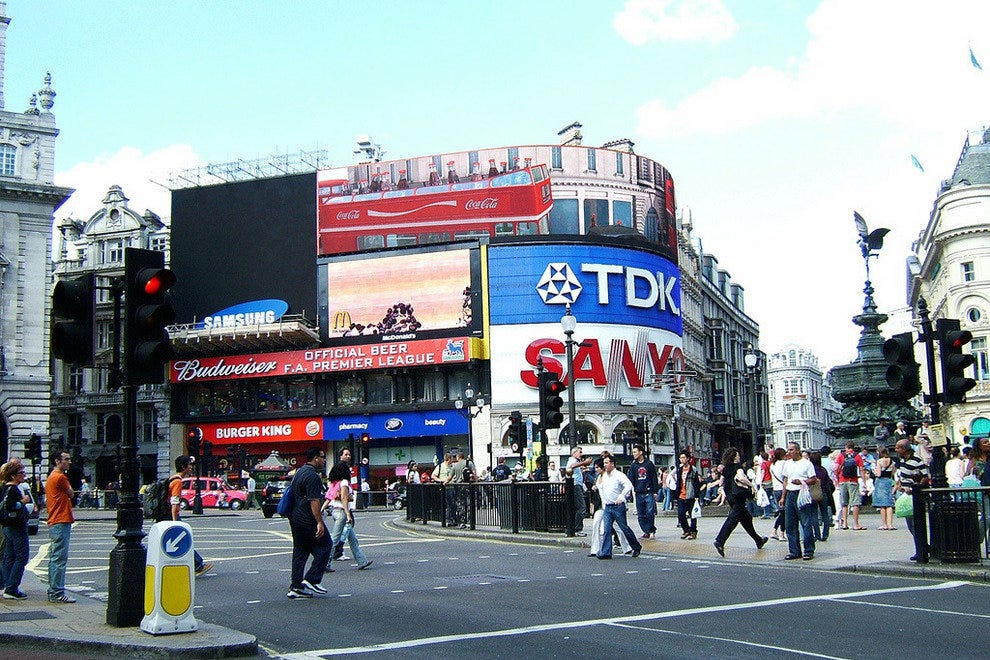 Piccadilly Circus and the Statue of Eros - London, England