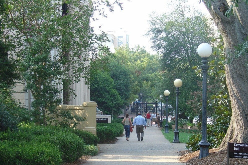 Pathway at the University of Georgia that leads to the Arch and downtown Athens.