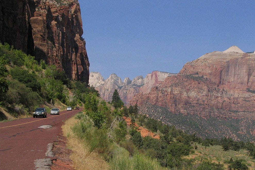The road looking up to Zion Tunnel out of Zion Canyon