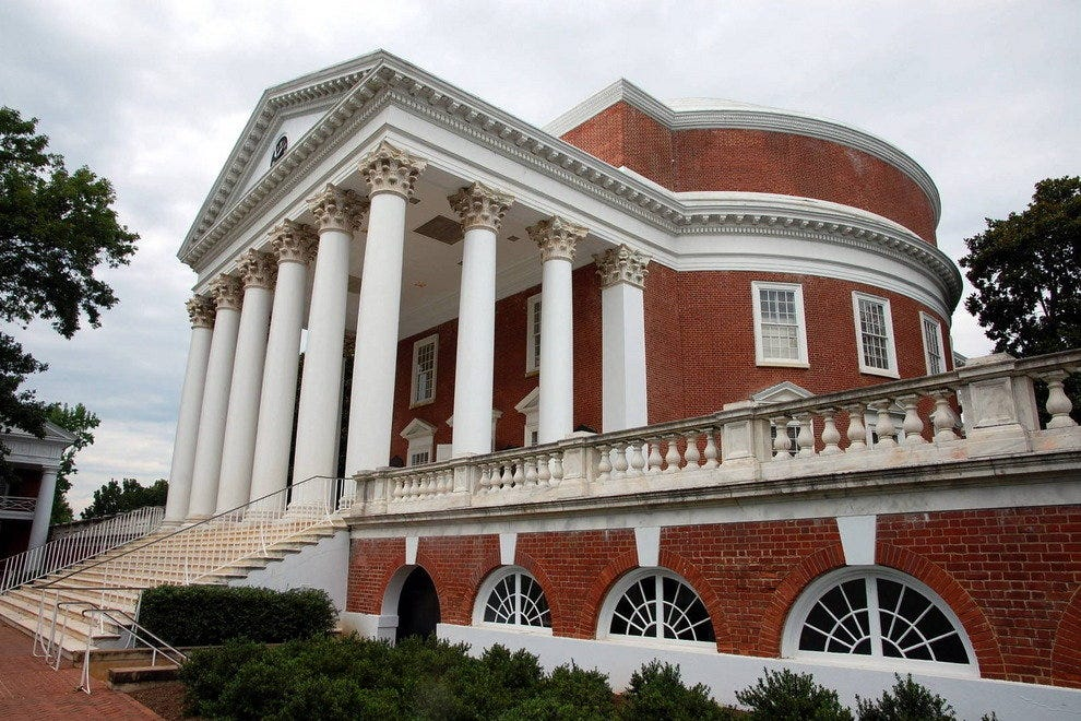 The University of Virginia Rotunda in Charlottesville was designed by Thomas Jefferson.