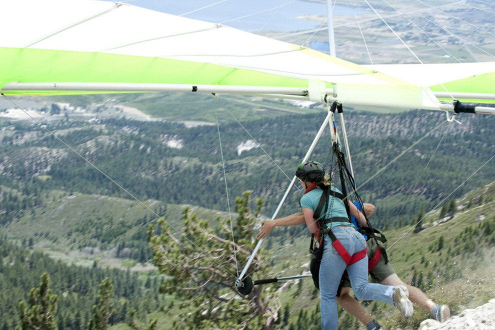 The author during her first hang gliding takeoff