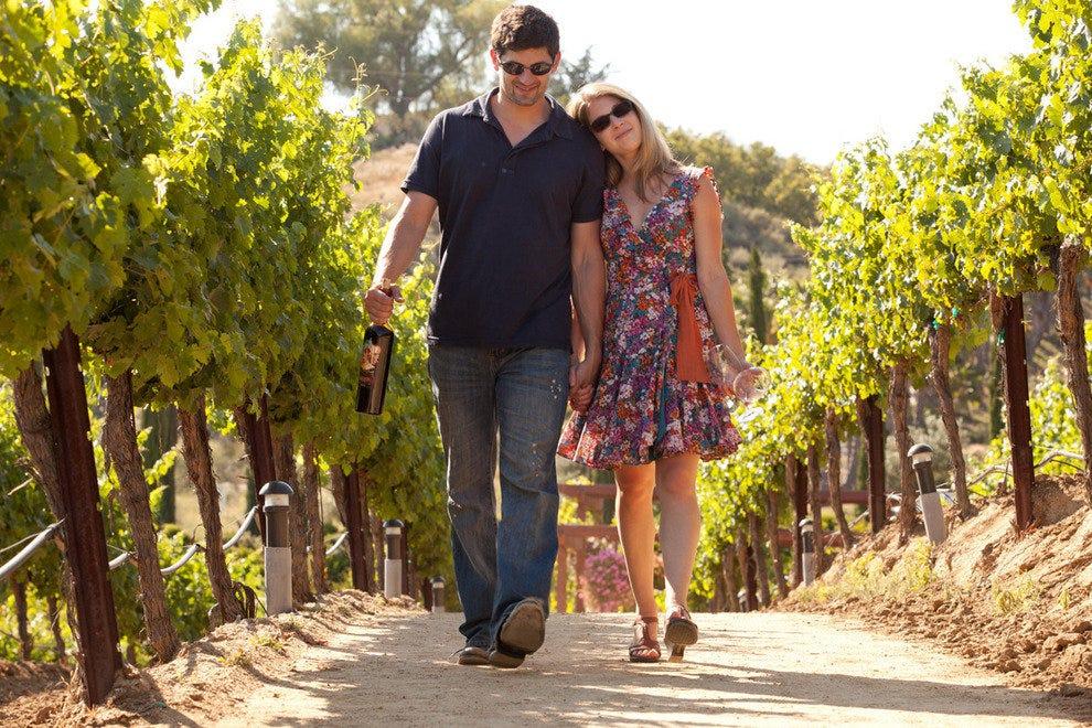 一对夫妇走过葡萄园