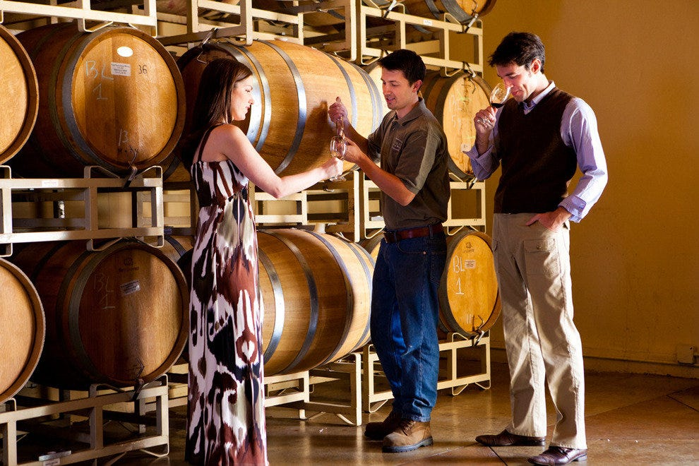Barrel tasting at a vineyard
