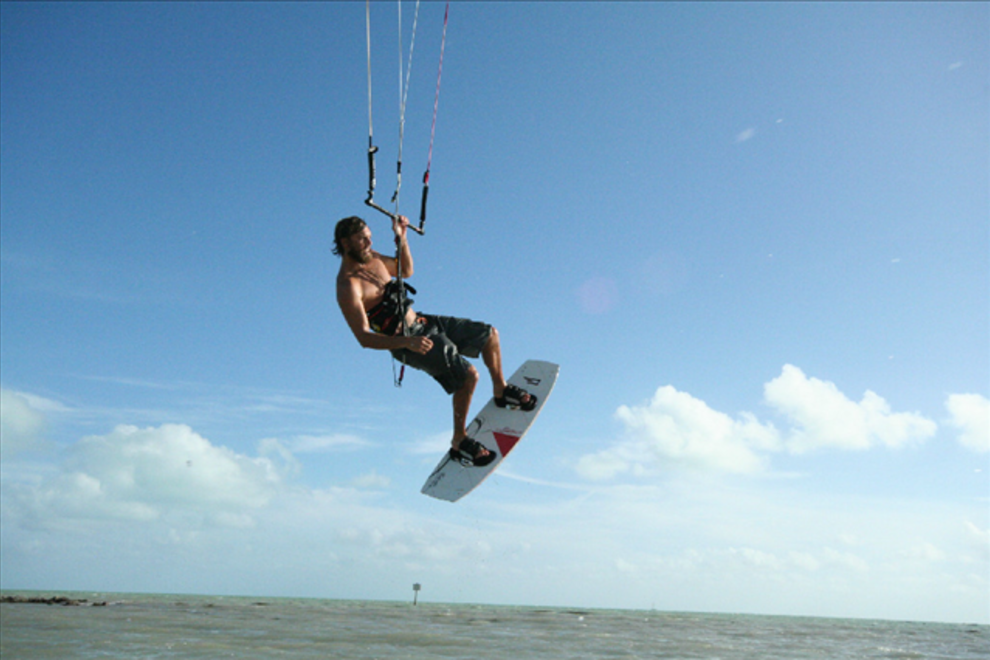 A Kiteboarder getting some air