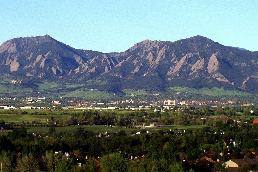 Mountains behind downtown Boulder