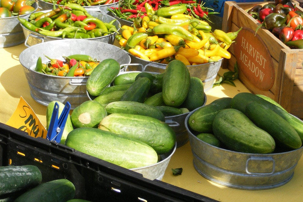 Cucumbers and Peppers at Pearl Farmer's Market