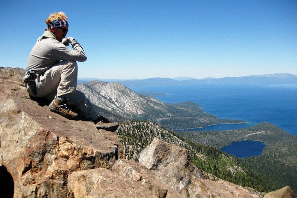 Looking down at Lake Tahoe from the top of Mount Tallac