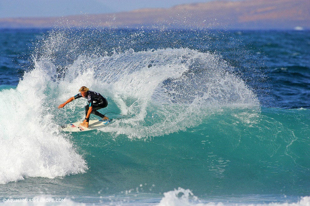 Surfing La Santa reef break off Lanzarote