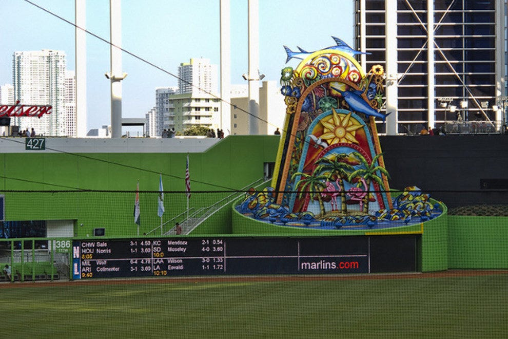 The mechanical dolphin structure in the Marlins outfield