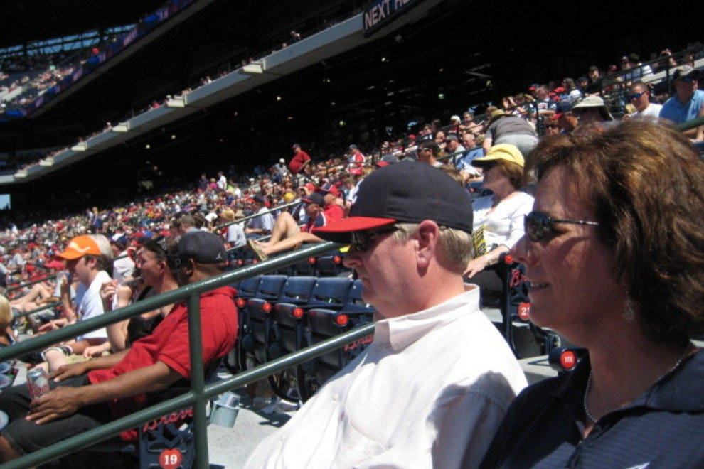 Braves fans take in a game