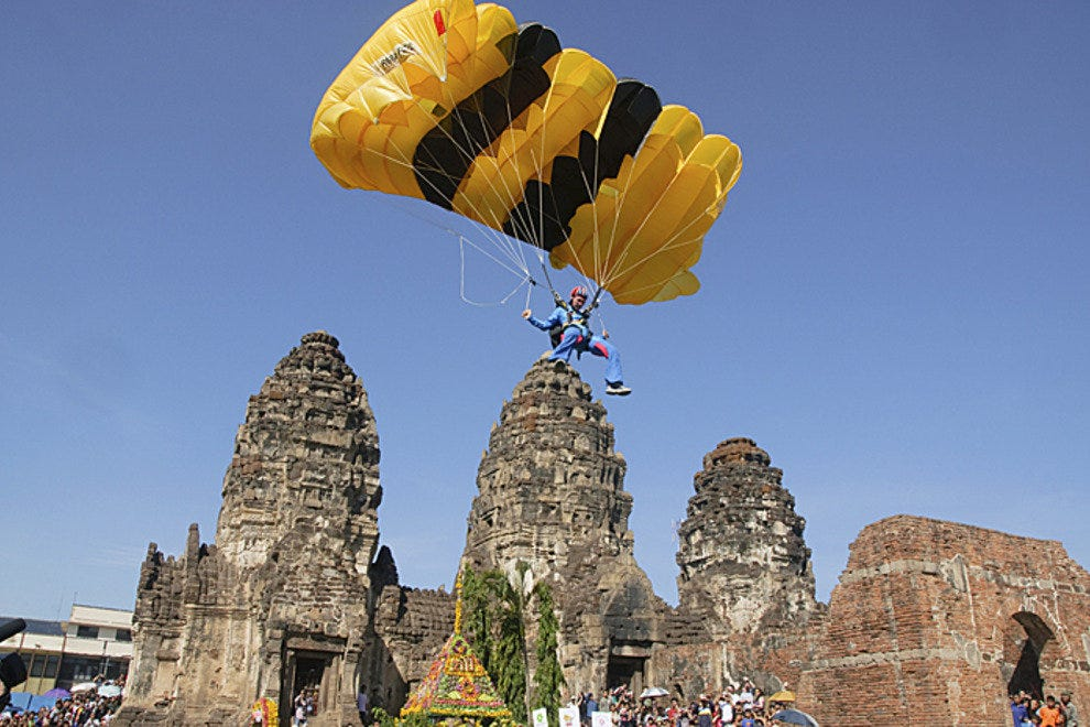 Parachuting into the temples, Lopburi