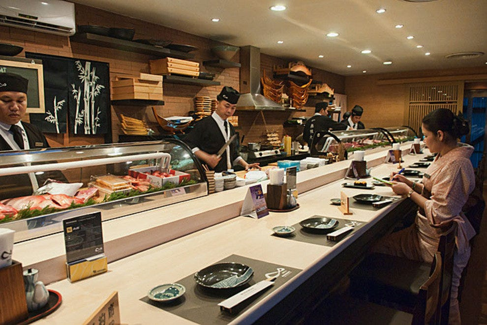 Sushi bar at Mugendai