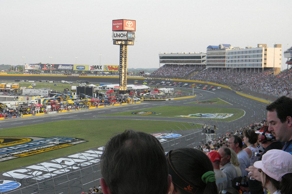 The front straight of Charlotte Motor Speedway