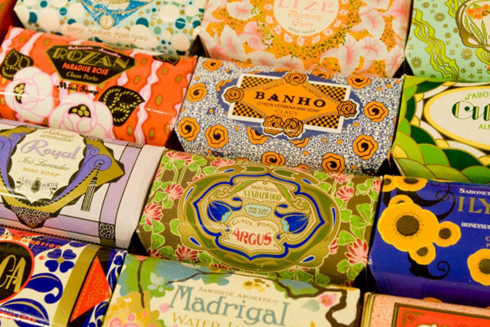 A selection of soaps in vintage wrapping on sale at A Vida Portuguesa