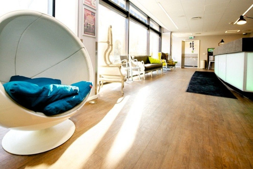 The lobby of Generator Hostel Copenhagen, with its smart, functional design features.