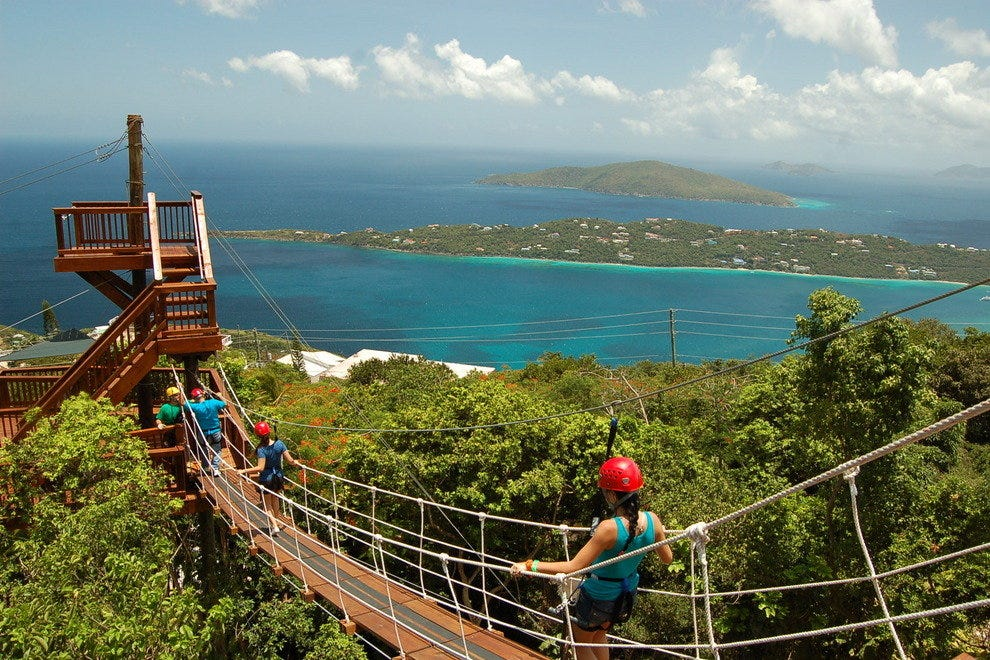 Rope bridge with view over Magens Bay at Tree Limin Extreme Zipline St. Thomas