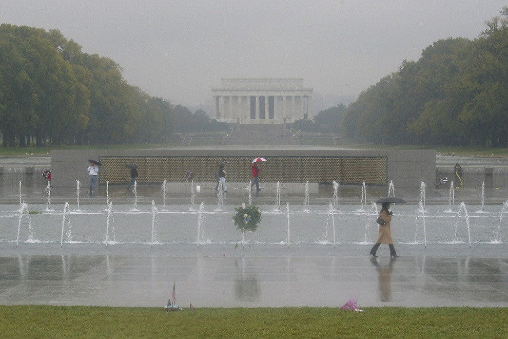 A rainy day on the National Mall in Washington, D.C.