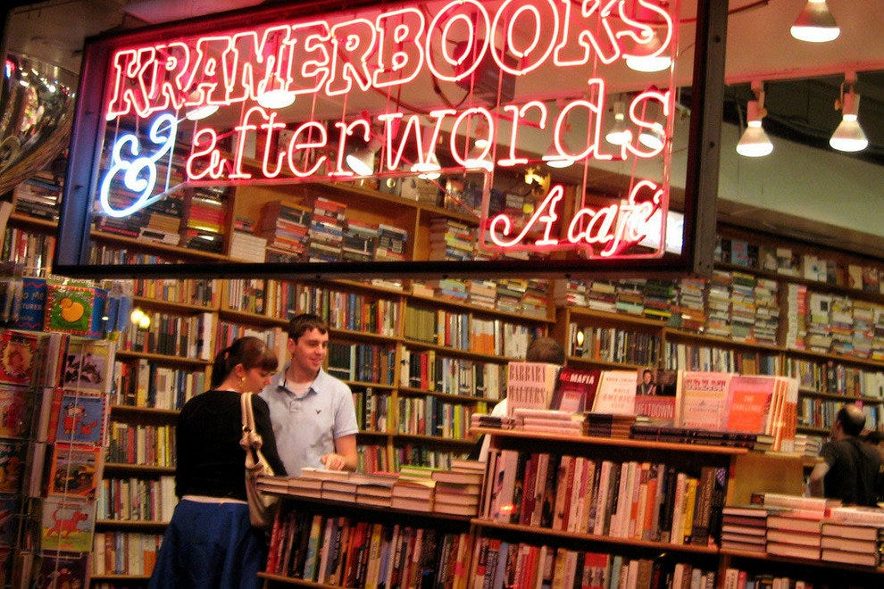 Shoppers spend an evening browsing among the bookshelves at Kramerbooks