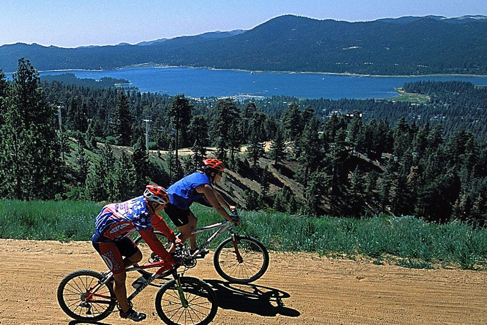 Bikers enjoy a spin around Big Bear Lake