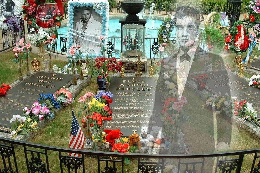 The Meditation Garden at Graceland - with a ethereal Elvis.