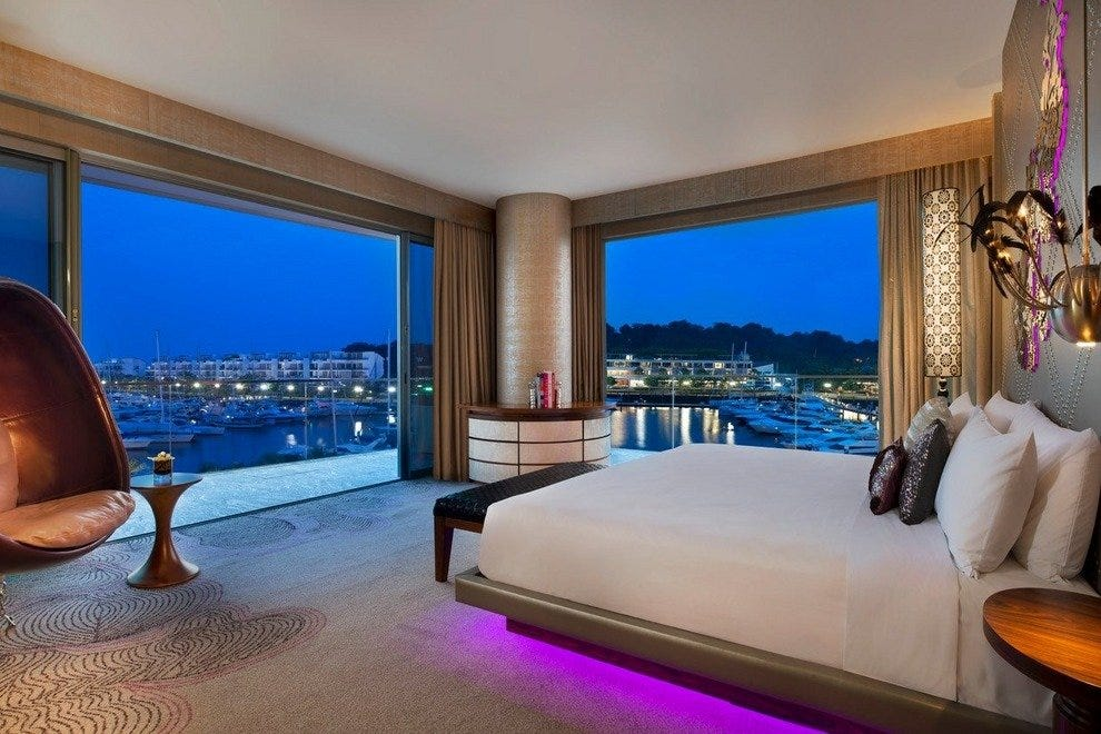 All 240 rooms and suites feature sea and marina views