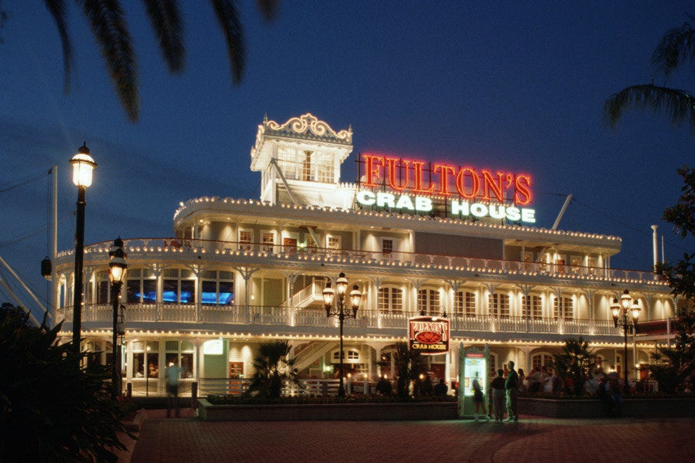 A riverboat runs through it: grab lunch or dinner at Fulton's in Downtown Disney.
