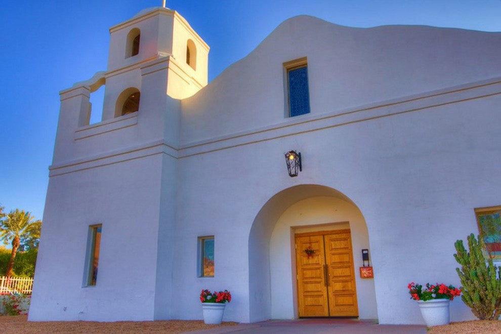 Our Lady of Perpetual Help Mission Church in Old Town Scottsdale was built in 1933 by members of the city's Mexican community.